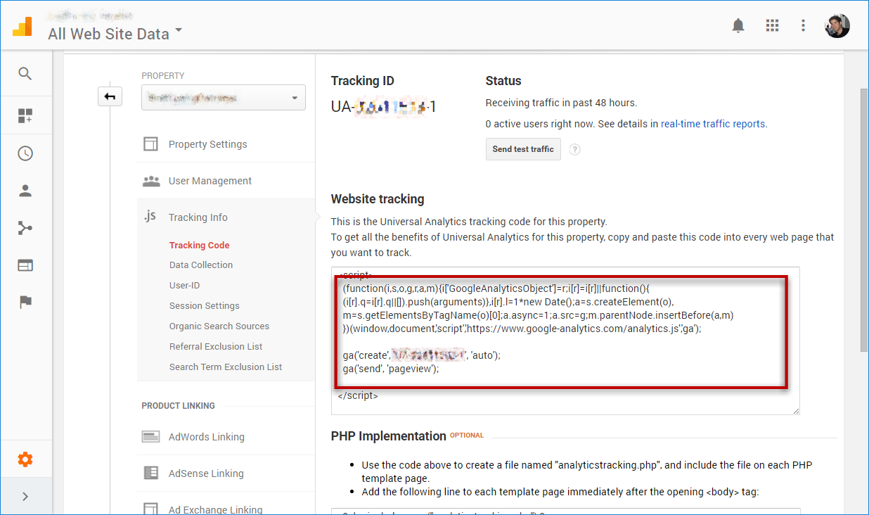 Save Google Analytics tracking code