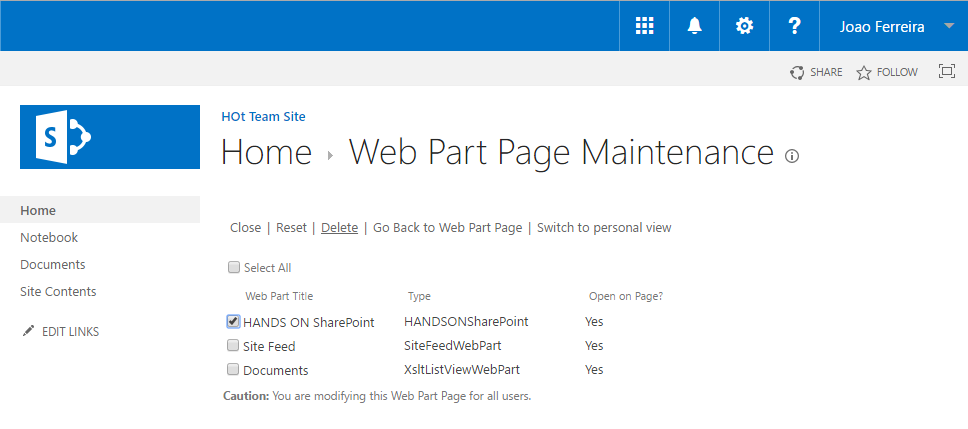 Remove SharePoint Web Part