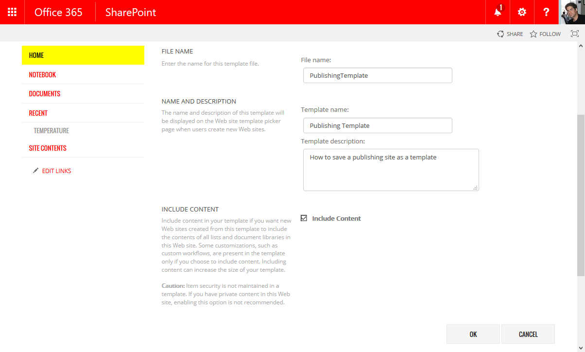 Save publishing site as a template | HANDS ON SharePoint