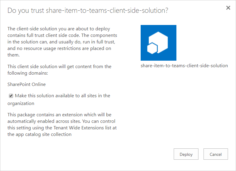 Share SharePoint list and library items to Microsoft Teams